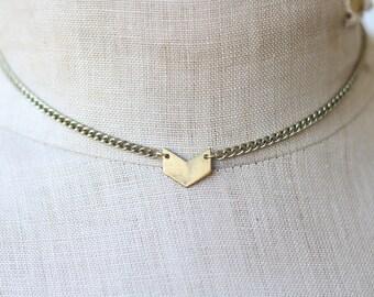 Brass Chevron Necklace / Brass Pendant Necklace / Minimalist Necklace / Stocking Stuffers