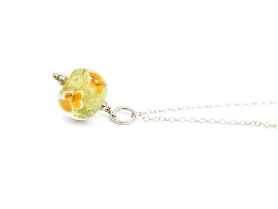 Art Glass Pendant - Medium Green and Amber Art Glass Bead Sterling Silver Pendant - Classic Collection