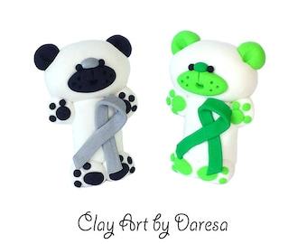 Custom Color Aware Bear - polymer clay figurine