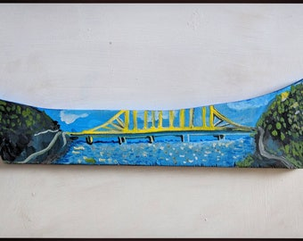 Bridge over river painting original by VictoriaCableArt