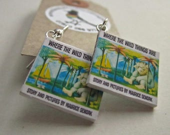 """Where The Wild Things Are  Book Earrings from """"The Earring Library"""""""