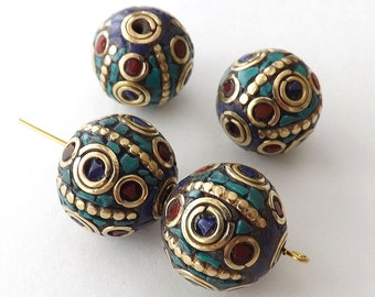 18mm big Nepalese round Beads with Brass & Coral,Turquoise Inlaid