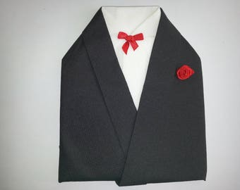 Tuxedo black and white towel