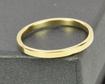 Gold Wedding Ring, Matte Finish 18K Yellow Gold 2mm ring, Solid Gold, Smooth Texture