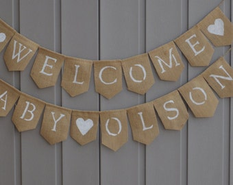 Welcome Baby Banner, Baby Shower Decor, Welcome Baby Sign, Baby Bunting, Baby Garland, Custom Baby Banner, Personalized, Shower Decor