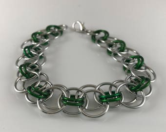 Sale 25% off Green and Silver Helm Chain Chainmaille Bracelet