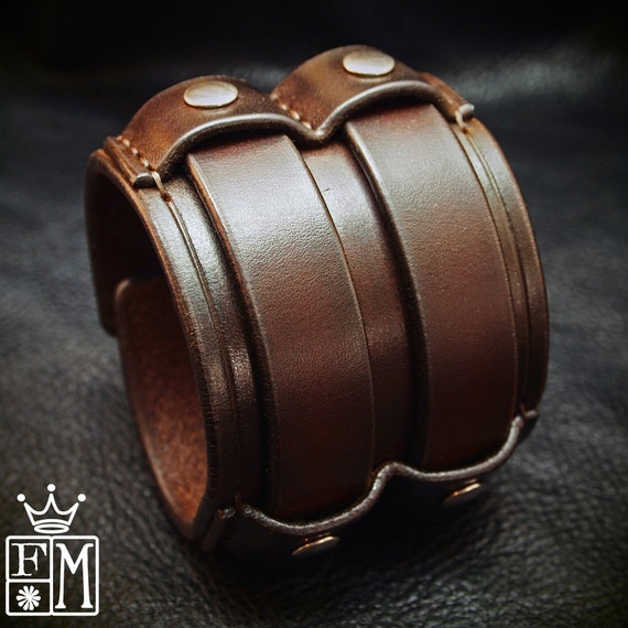 """Leather cuff Bracelet- Brown leather wristband 2.5"""" wide Custom made for YOU in New York by Freddie Matara"""