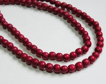 Rich Ruby Red wood beads round 6mm full strand eco-friendly Cranberry Red Cheesewood 9431NB