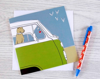 Home is where the heart is - blank card with classic campervan