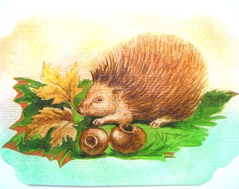 Postcard and a matching colored envelope. Pastel and collage. The little hedgehog.