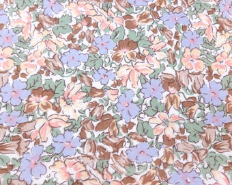 Liberty of London Cotton Fabric 3 Yards Destash Yardage Pink, Peach, Lilac, Brown, Sage Green on White Floral Print