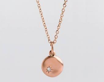 Large Diamond Pendant 18k Rose Gold Pendant, Diamond Charm Necklace, Disc Pendant, 14k Rose Solid Gold Tiny Diamond Pendant