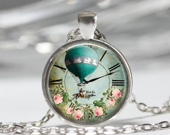 Steampunk Jewelry Steampunk Airship Necklace Glass Pendant Hot Air Balloon Clock Necklace Vintage Balloon Jewelry