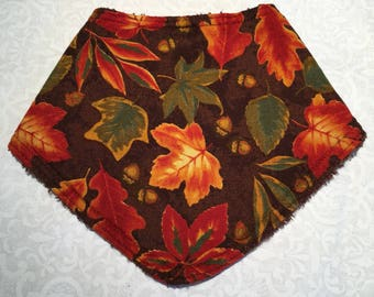 Fall Leaves and Acorns Bib