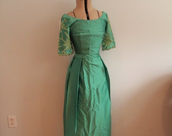 1960's Green Party Time Evening Gown
