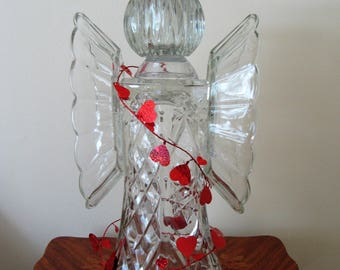 garden art glass angel, glass angel, angel sculpture, upcycled glass art, recycled glass, glass totem, garden art, gifts, garden decor