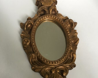 Vintage Gold victorian scroll work resin mirror