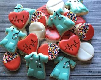 2 Dozen Mini Nurse/RN Decorated Cookies