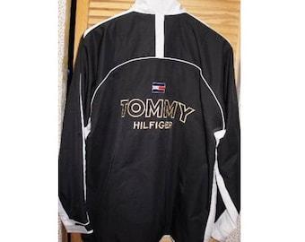 Tommy Hilfiger jacket, vintage black Tommy jacket of 90s hip-hop clothing, 1990s hip hop sailor college jacket, OG, gangsta rap size L Large