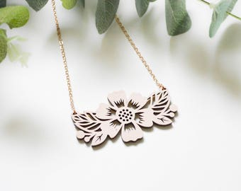 Floral Lasercut Necklace - Papercut Design - Hand painted