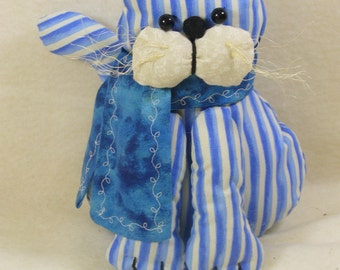 Blue Striped Cat with Scarf, Stuffed Animal