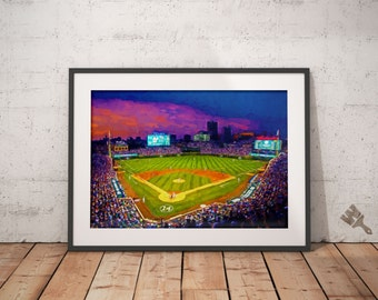 Wrigley Field Print, Baseball Stadium Painting, Chicago Cubs Poster