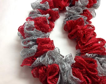 Red and Gray Ruffle Scarf