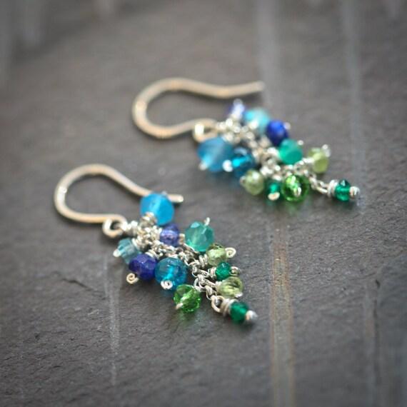 Mermaid - Multi-Gemstone Ombre Green Blue Dangle Sterling Silver Earrings