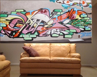 Huge Banksy Style signed wall street Art Painting Urban Custom Graffiti Stencil Spray 2000mm by Pepe