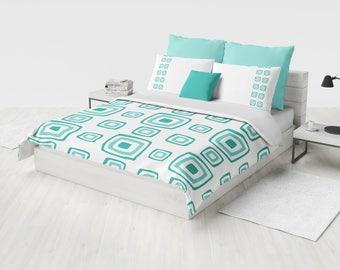 Retro Bedding Set, Geometry Duvet Cover Set, Modern Teal Bedding, Mid  Century Bedding