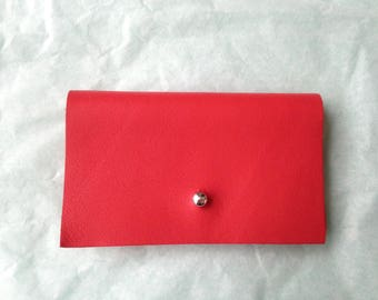 Wallet red leather, silver clasp