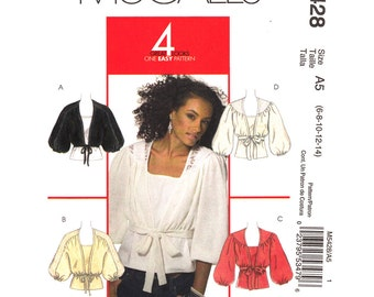 Shrug Pattern Top Pattern McCalls 5428 Tied Front Shrug Puff Sleeves Blouse Tank Top Womens Size 6 to 14 Easy Sewing Pattern UNCUT