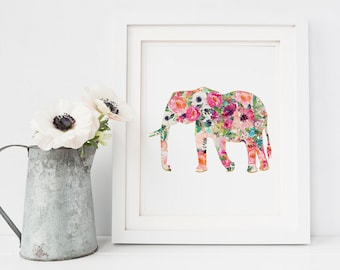 Elephant Art Print, Printable Elephant wall art, Nursery animal print, floral Animal Print, Office Art Print, Boho Chic art prints, Spring