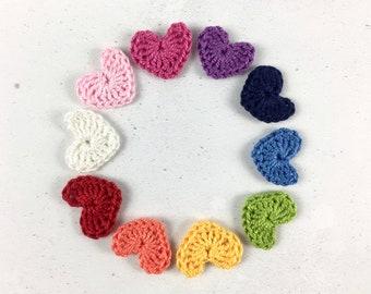 Crochet hearts - Crochet flowers - Pack of 10 in rainbow colours - Crochet applique hearts - Crochet appliqué flowers