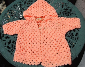 Baby Sweater Peach Hooded Hand Crocheted