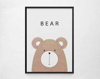 Bear Poster - Free Shipping - Bear Decor - Baby Poster - Baby Room Decor - Baby Room Wall Art 2017
