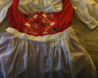 Vintage German traditional Dirndl Oktoberfest Costume sz16