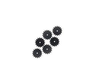 50off Steampunk Cog Gears Black Brass 24 Gauge Assemblage Altered Art Lot 19mm- Qty 6 Made in the USA