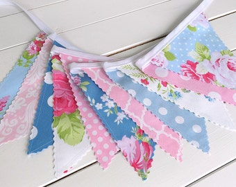 Shabby Chic Wedding Bunting Banner Flowers Roses Baby Girl Nursery Decor Baby Shower Fabric Bunting Nursery Bunting Garland Pink Blue
