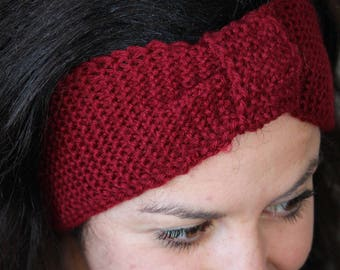 Burgundy vegan wool headband