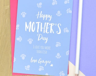 Cat Mother's day card - from the cat Mother's day card - personalised cat Mother's day card