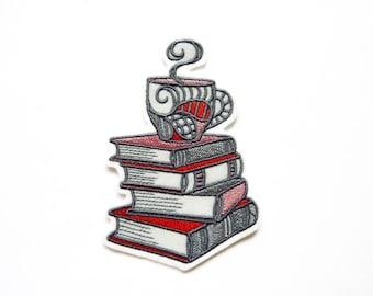 Patch embroidery books and coffee mug