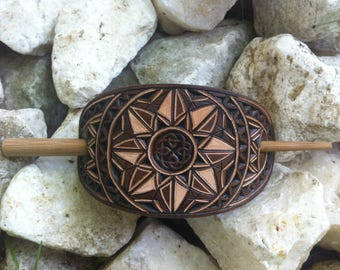 Celtic knot hand carved leather hair barrette - hair accessories  -  stick barrette
