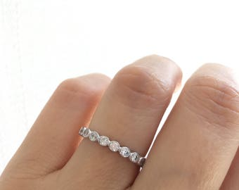 Sterling Silver Eternity Ring. Silver Wedding Band. Fine Cz Eternity Band. 2MM Eternity Band Ring. Silver Stacking Ring. Stackable Bands.