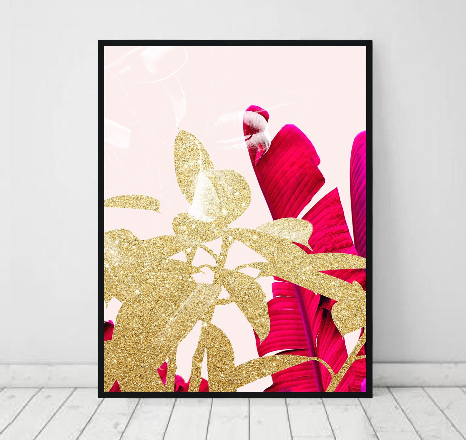 fuchsia banana leaf print gold plant leaves tropical leaf