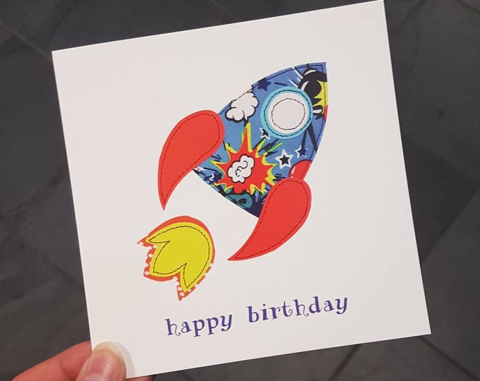 Rocket Birthday Card • Happy Birthday • Printed from Original Artwork • 6 inch square with brown kraft envelope • 300gsm