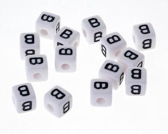 "20 bead ""B"" white acrylic letter Alphabet 10mm Bracelet, jewelry, pacifier clip"
