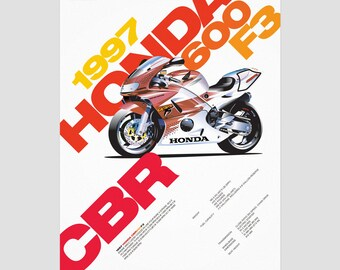 Honda CBR600 F3 Motocycle Poster  / Home decor prints / Illustration print, typography poster