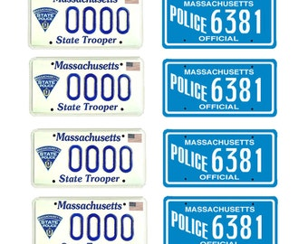 scale model Massachusetts State Police car license tag plates