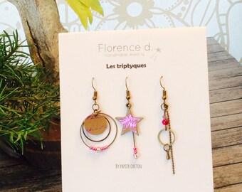 Triptych fuschia earrings